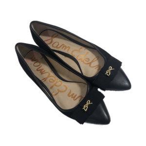 Sam Edelman Black Faux Suede Bow Flats, Size 8.5